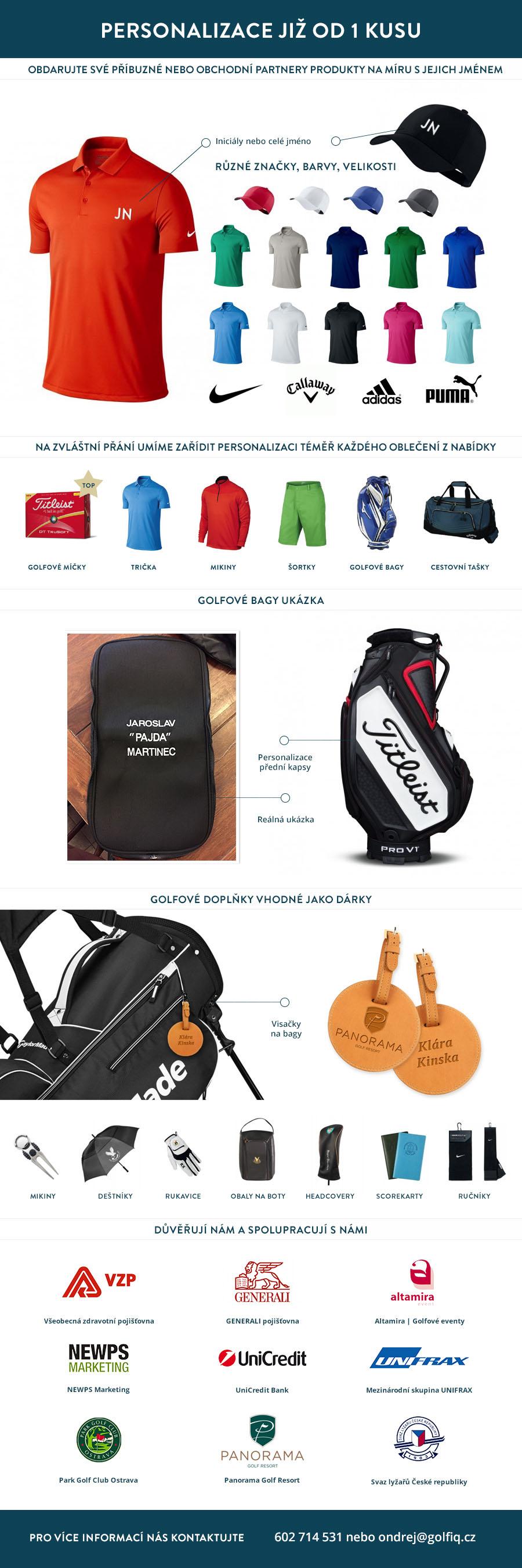 Personalizované golfové dárky a oblečení od 1 ks